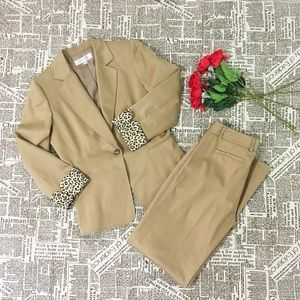 Tahari ASL Khaki Blazer Pants Suit 2 Pieces Set 6